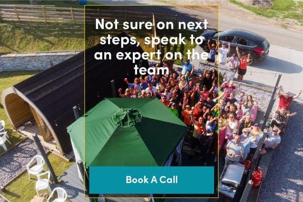 Financing glamping pods, next steps call booking CTA