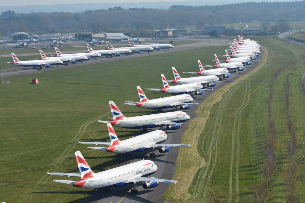 planes parked on runway because of covid