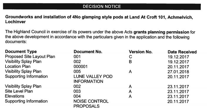 decision-notice-for-requirements-for-planning-permission-for-glamping-pods