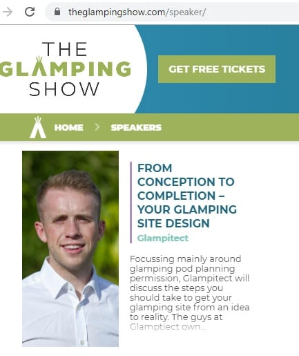 Glampitect speaker Calum Macleod at The Glamping Show 2019