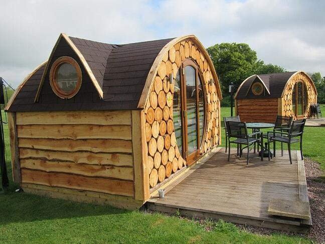 Glamping Pods with outdoor deck area and setting